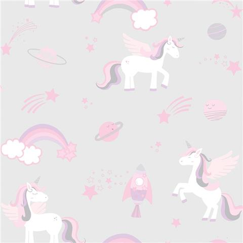 Over the Rainbow Wallpaper-unicorns and rainbows 90960 grey