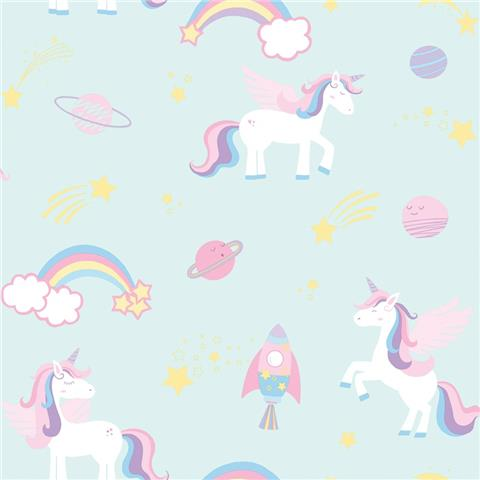 Over the Rainbow Wallpaper-unicorns and rainbows 90962 teal
