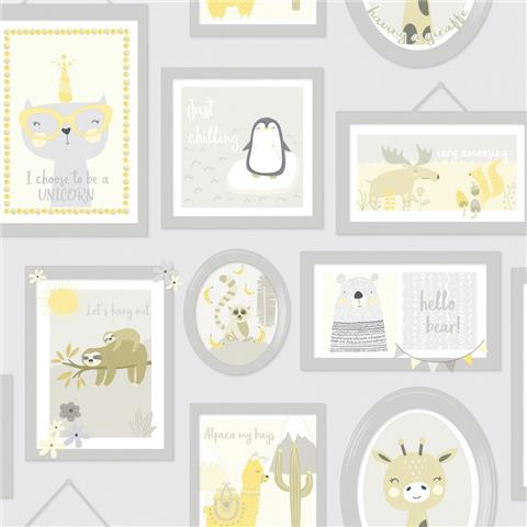 Over the Rainbow Wallpaper-Animal Frames 90970 Yellow/Grey