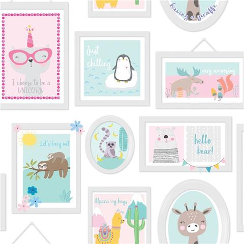 Over the Rainbow Wallpaper-Animal Frames 90971 Teal/Pink