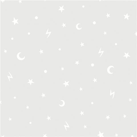 Over the Rainbow Wallpaper-Stars and moon 90980 grey