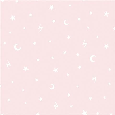 Over the Rainbow Wallpaper-Stars and moon 90981 pink