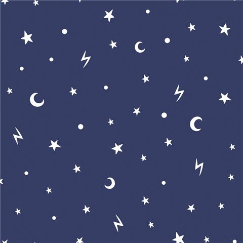 Over the Rainbow Wallpaper-Stars and moon 90982 navy