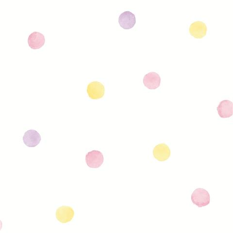 Over the Rainbow Wallpaper-polka dots 91000 pink/yellow