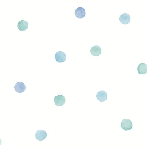 Over the Rainbow Wallpaper-polka dots 91001 blue/teal