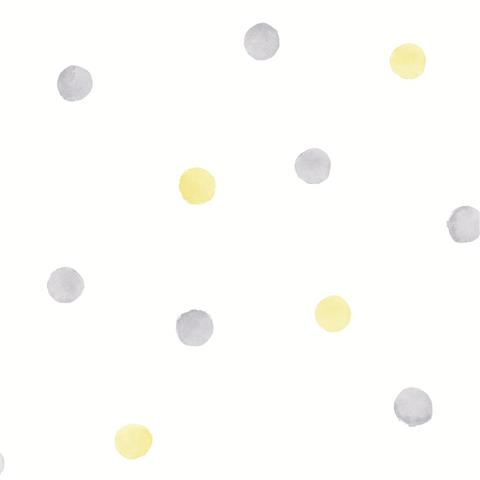 Over the Rainbow Wallpaper-polka dots 91002 grey/yellow