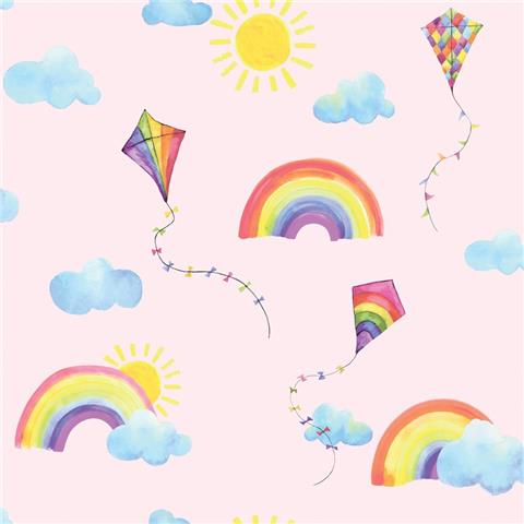 Over the Rainbow Wallpaper-Rainbows and Kites 91021 pink