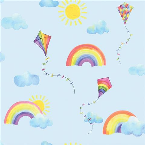 Over the Rainbow Wallpaper-Rainbows and Kites 91022 blue