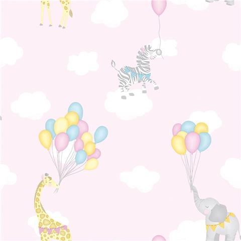 Over the Rainbow Wallpaper-Animal Balloons 91040 Pink