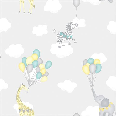 Over the Rainbow Wallpaper-Animal Balloons 91041 Grey