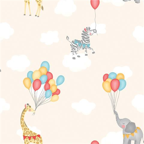 Over the Rainbow Wallpaper-Animal Balloons 91042 Neutral