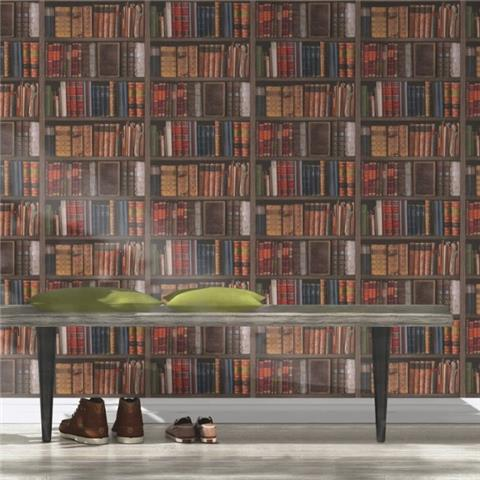 Rasch Home Style Library Book Wallpaper Multi 934809