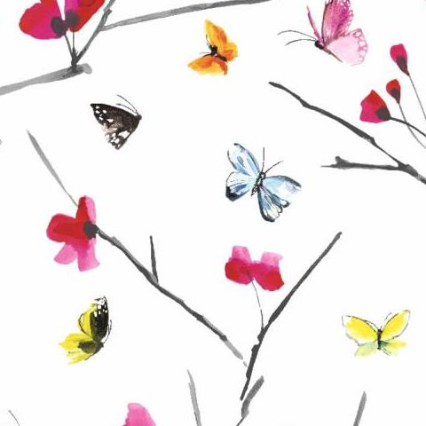 Mazarine Butterfly Paste the Wall Wallpaper 97532 White/Multi