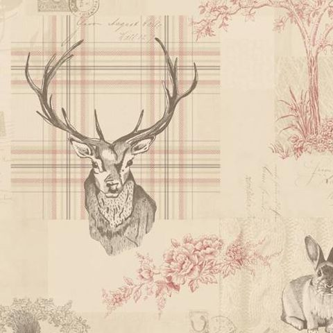 K2 Feature Wallpapers by Holden Richmond Stag Cranberry/Linen 98010