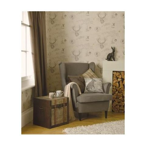 Richmond Stag Wallpaper Charcoal/Linen 98012