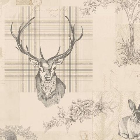 K2 Feature Wallpapers by Holden Richmond Stag Charcoal/Linen 98012