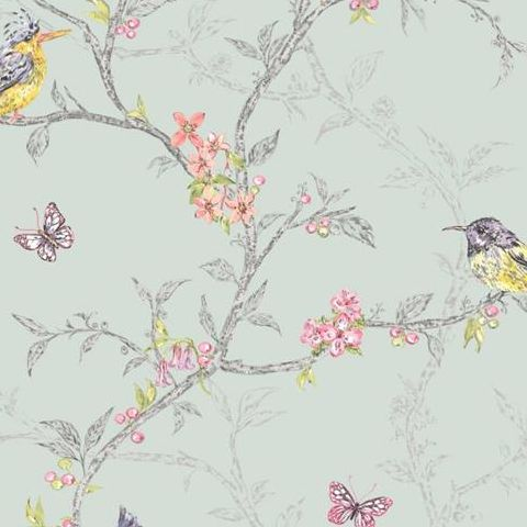 Holden Statement Feature Wallpapers Ornithology Phoebe Soft Teal 98083