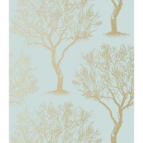 Anna French Seraphina Winfell Forest Wallpaper AT6004 Metallic Gold and Aqua