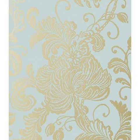 Anna French Seraphina Verey Wallpaper AT6010 Metallic Gold on Aqua