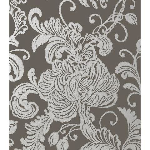 Anna French Seraphina Verey Wallpaper AT6011 Silver on Charcoal