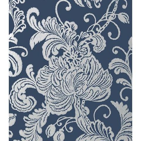 Anna French Seraphina Verey Wallpaper AT6012 Silver on Navy