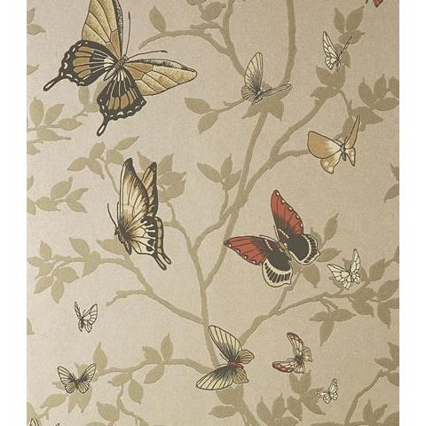 Anna French Seraphina Butterfly Wallpaper AT6024 Metallic Champagne
