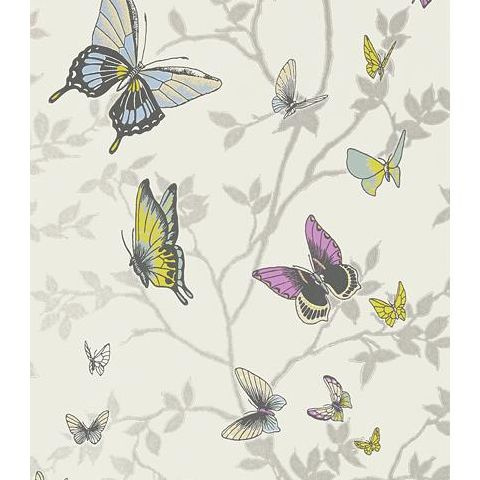 Anna French Seraphina Butterfly Wallpaper AT6025 Metallic Silver