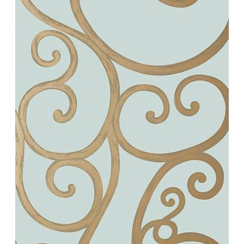 Anna French Seraphina Palace Gate Scroll Wallpaper AT6051 Metallic Gold on Aqua