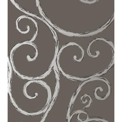 Anna French Seraphina Palace Gate Scroll Wallpaper AT6052 Silver on Charcoal