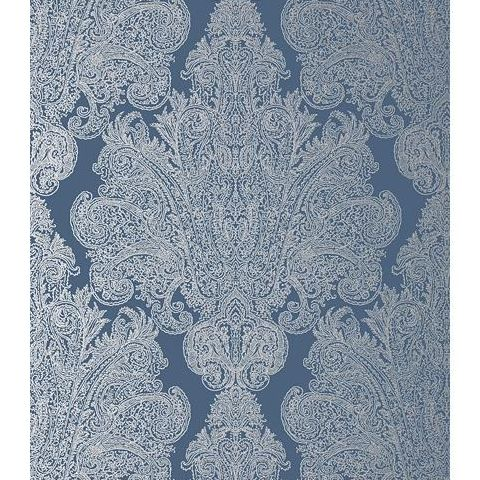 Anna French Serenade Auburn Damask Wallpaper AT6105 Metallic Silver on Navy