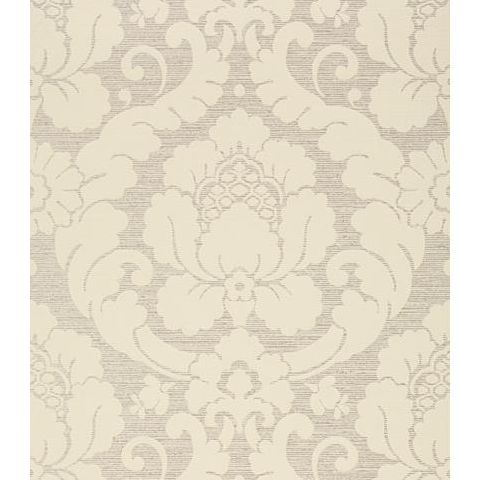 Anna French Serenade Marlow Damask Wallpaper AT6130 Linen on Metallic Silver