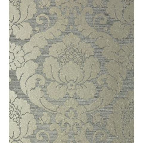 Anna French Serenade Marlow Damask Wallpaper AT6134 Metallic Pewter and Charcoal
