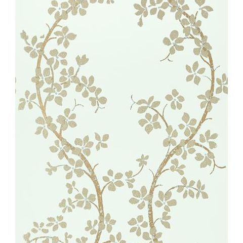 Anna French Serenade St Albans Grove Wallpaper AT6154 Metallic Pewter on Aqua