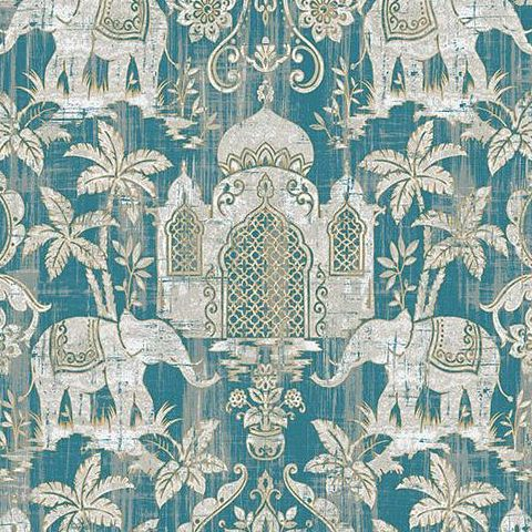 Galerie Indo Chic Elephant Wallpaper G67356 Blue