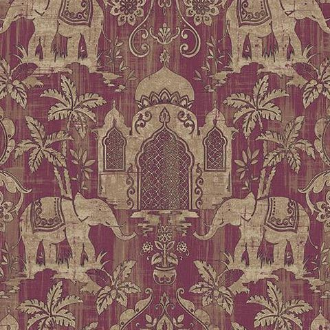 Galerie Indo Chic Elephant Wallpaper G67357 Burgundy