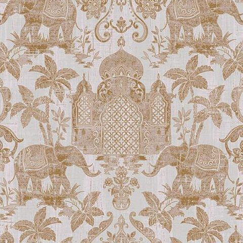Galerie Indo Chic Elephant Wallpaper G67358 Gold/Dove