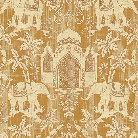 Galerie Indo Chic Elephant Wallpaper G67360 Gold