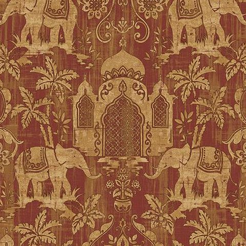 Galerie Indo Chic Elephant Wallpaper G67361 Red