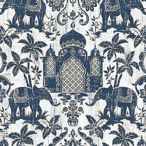 Galerie Indo Chic Elephant Wallpaper G67362 Navy