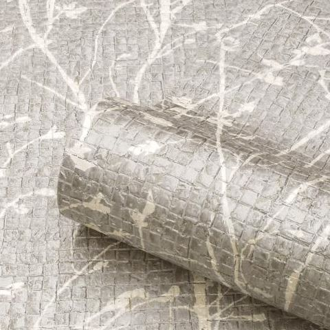 Ravello Wallpaper 1702 Silver/White, box of 6 rolls