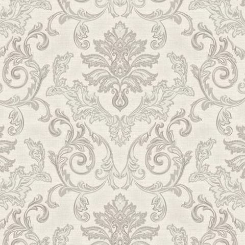 Grandeco Estelle Damask Wallpaper AT17803 Silver