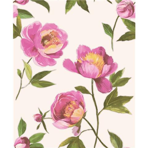 GranDeco Life Florence large Floral Wallpaper A41201 pink