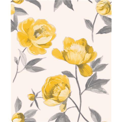 GranDeco Life Florence large Floral Wallpaper A41202 yellow