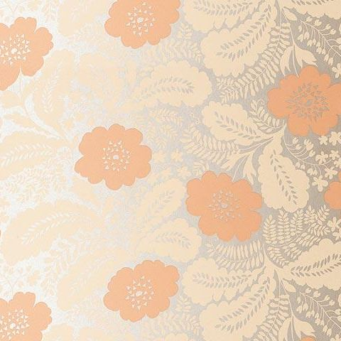 Anna French Wild Flora Ash Wallpaper-Salmon