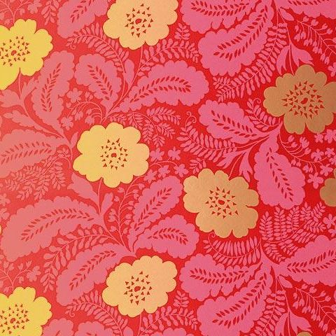 Anna French Wild Flora Ash Wallpaper-Pink/Gold