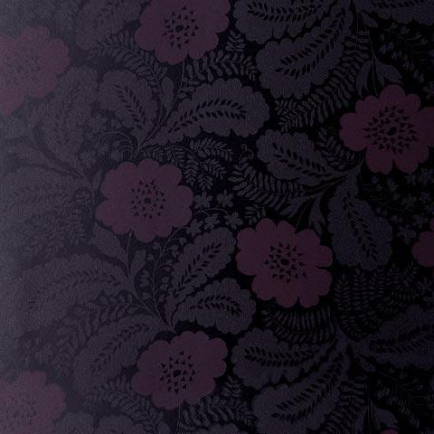 Anna French Wild Flora Ash Wallpaper-Black/Moroon