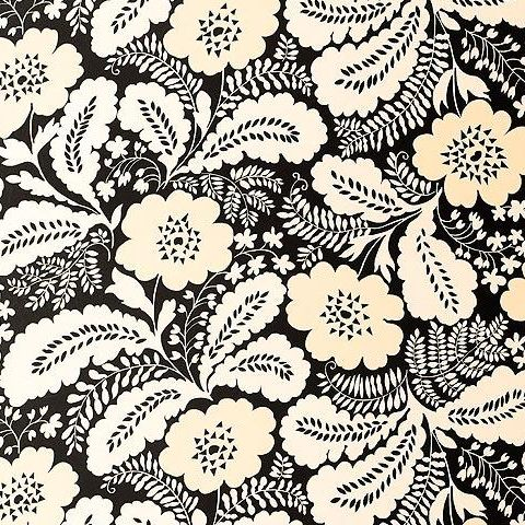 Anna French Wild Flora Ash Wallpaper-Black/Cream