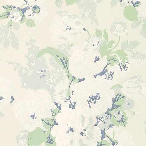 Anna French Wild Flora Bouquet Wallpaper-Cream/Green