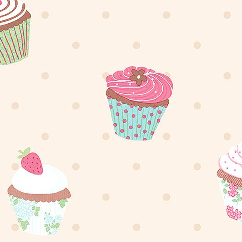 Cheeky Monkey Vinyl Wallpaper CM28635 Cup Cakes
