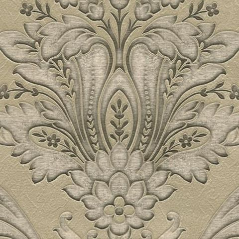 Damasco Italiano Wallpaper Gold and Charcoal 5865